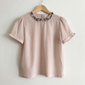 Club Monaco Pink Short Sleeve Silk Top